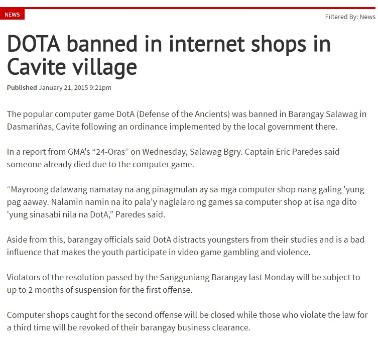 Snippet from a news regarding the banning of the game DotA/Dota 2 from a district here in the Philippines