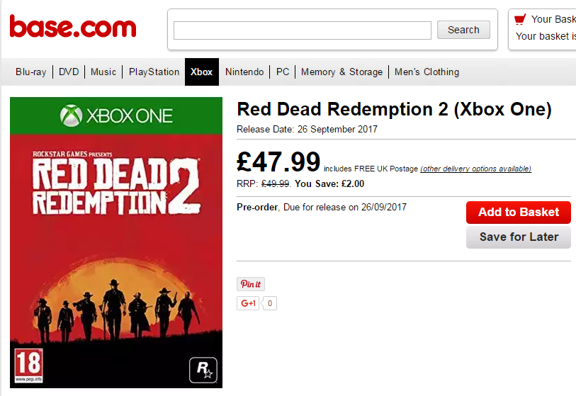 Red Dead Redemption 2 Release Date Listed by a UK Retailer